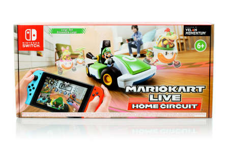 December 28, 2020: Pack of Mariokart Live Home Circuit video game, Luigi set. Mariokart Live Home Circuit is video game developed and published by Nintendo