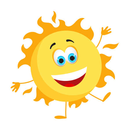 Funny Sun with eyes - Summer Things Collection. Cartoon funny characters, flat vector illustration