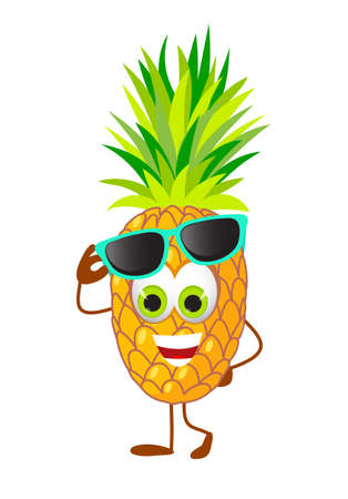 Funny Pineapple with eye glasses - Summer Things Collection. Cartoon funny characters, flat vector illustration