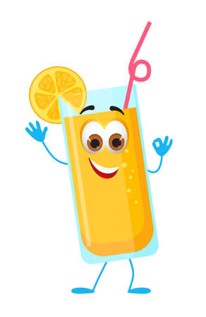 Funny Lemonade with eyes - Summer Things Collection. Cartoon funny characters, flat vector illustration
