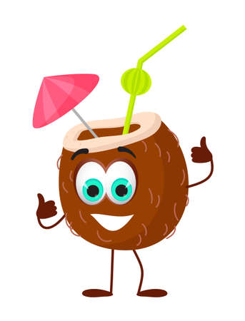 Funny Coconut Cocktail with eyes - Summer Things Collection. Cartoon funny characters, flat vector illustration