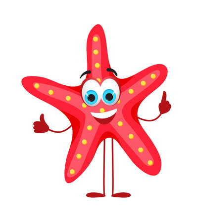 Funny Starfish with eyes - Summer Things Collection. Cartoon funny characters, flat vector illustration Illustration