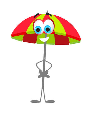 Funny Beach Umbrella with eyes - Summer Things Collection. Cartoon funny characters, flat vector illustration Illustration