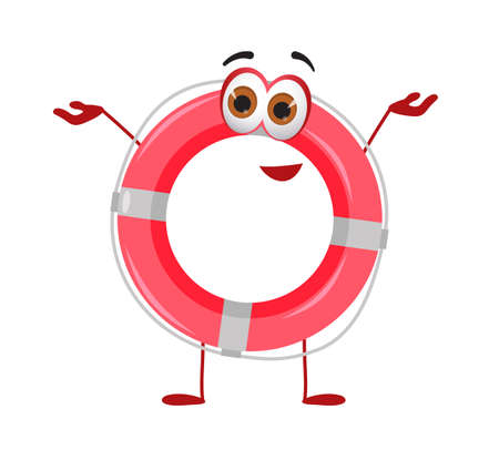 Funny Lifebuoy with eyes - Summer Things Collection. Cartoon funny characters, flat vector illustration