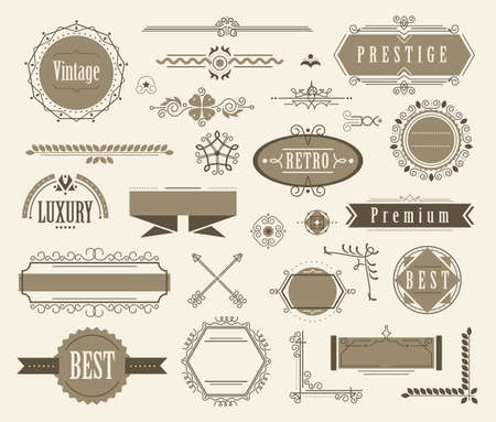 Set of ornamental filigree flourishes and vintage design signs. Classical vintage elements, vector illustration
