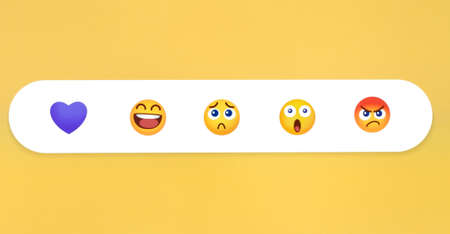 Kiev, Ukraine - January 12, 2021: Viber like button Emoji Reactions on yellow background, printed on paper. Viber added new message reactions