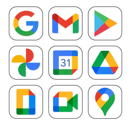 Kiev, Ukraine - January 12, 2021: Icons set of Google services: Google Search, Gmail, Play Store, Photos, Calendar, Drive, and Duo, printed on white paper Editorial