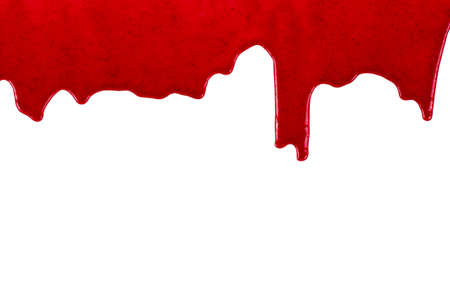 Cherry sweet syrup dripping on white background close-up