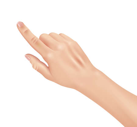 Woman hand on white background, realistic design vector illustration close-up