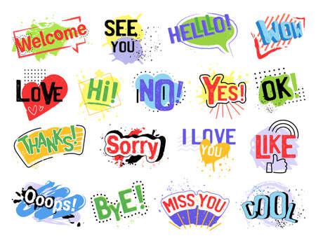 Set of Speech Bubbles, paint design vector illustration on white background close-up Illustration