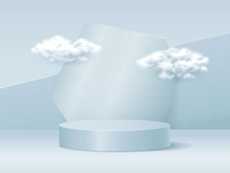 Advertisement 3D Prodium with clouds, realistic vector illustration close-up Illustration