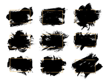 Set of Cosmetic mascara strokes with a frame for text, on white background. Realistic mascara smears, vector illustration