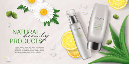 Banner of Natural skin care cosmetics with green plants, realistic vector illustration close-up