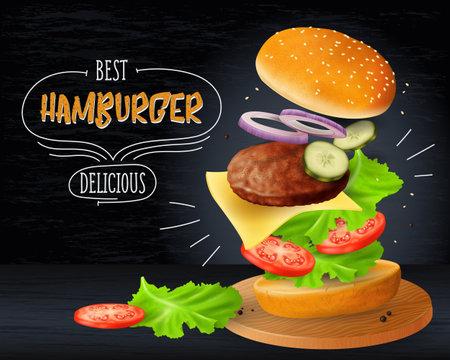 Big hamburger advertisement on wooden blackboard background, realistic vector illustration