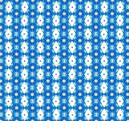 flowered: Blue and white abstract seamless pattern, consisting of bizarre  hexagons and rhombuses