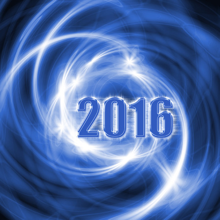 sumbol: Abstract New Year 2016 blue background with glowing spiral lines. Creative volumetric design, concept for greeting card, banner, poster, flyer design, night party. Stock Photo