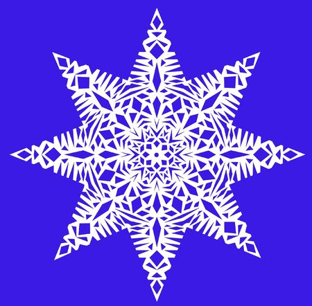 iceflower: One white snowflake on a blue background, computer-generated. It can be used as a pattern, brush, Christmas decoration.
