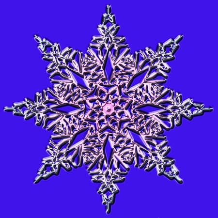 iceflower: Shiny snowflake close-up on a blue background Stock Photo
