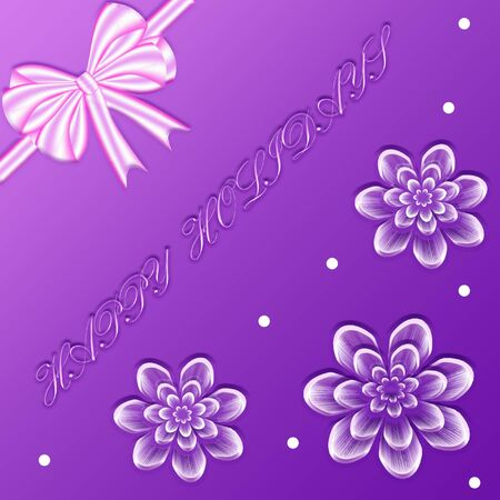 gift bags: Floral gift box design with bow and words Happy holidays on the purple background. It can be used for greeting cards and gift bags