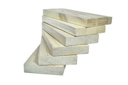 floorboards: Pile of wooden planks - an eco-friendly building material, isolsted on the white background