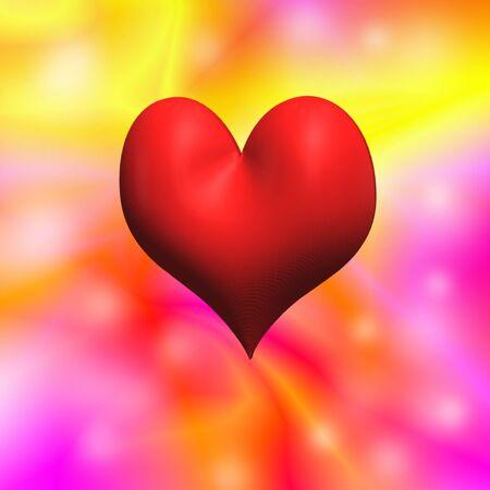 Brillante colorato in rosso, rosa e giallo di San Valentino s sfondo con il cuore 3D in centro