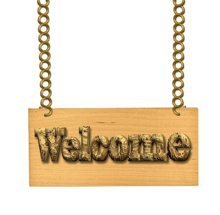 nailed: Wooden sign invitation to join Welcome on the chains hanging. Letters of cork nailed to a board with nails. Stock Photo