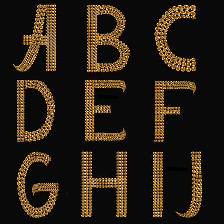 gold alphabet: Gold Alphabet Letters Uppercase A - J on black background isolated. The texture of the letters - golden shiny droplets, reflective light Stock Photo