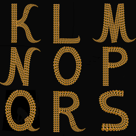 gold alphabet: Gold Alphabet Letters Uppercase K - S on black background isolated. The texture of the letters - golden shiny droplets, reflective light