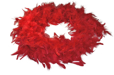 feather boa: Red fluffy feather boa, coiled, isolated on white background - vintage ladies accessory Stock Photo