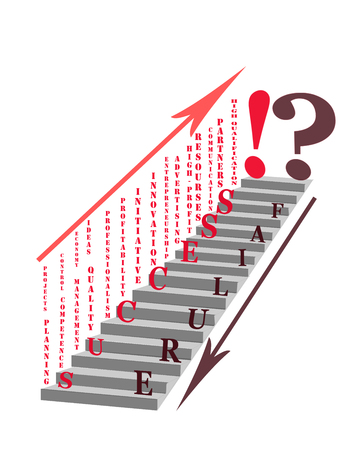 pinnacle: Whether your business is successful, or it will fail? Some of the factors based on which you can reach the pinnacle of success. Conceptual illustration - abstract stairs development or regression