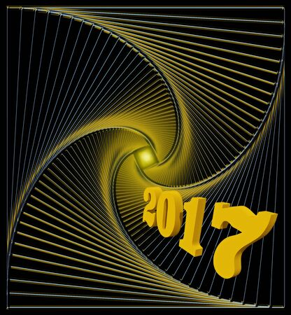 fulfillment: Happy new 2017 year. Light at the end of the abstract spiral tunnel - hopes for happiness, joy and fulfillment of desires - con?eptual illustration
