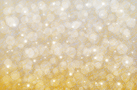 Yellow abstract background with bokeh and stars placed on the crystalline texture of snow surface Stock Photo