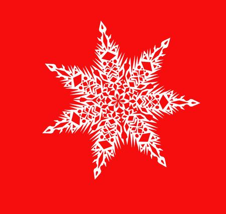 White shiny snowflake close-up on a red background - Christmas illustration, element of festive decoration.
