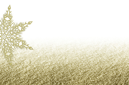 Elegant Christmas golden background with snowflake. New Year's holiday border with space for text.
