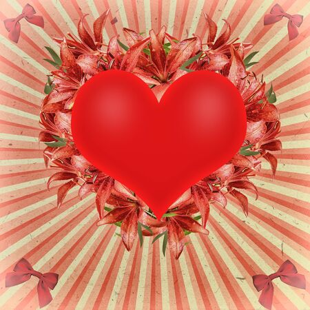 photoalbum: Vintage greeting card for Valentines Day, decorated with hearts, floral frame of red lilies with water droplets, bows and sunbeams. Can be used as a photo frame or wedding album cover Stock Photo