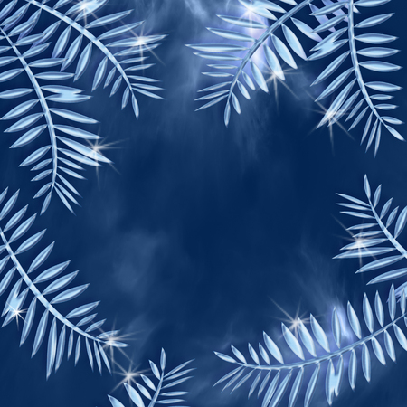 Beautiful blue winter background with sparkling crystal frozen leaves. Decorative frame with space for text Stock Photo