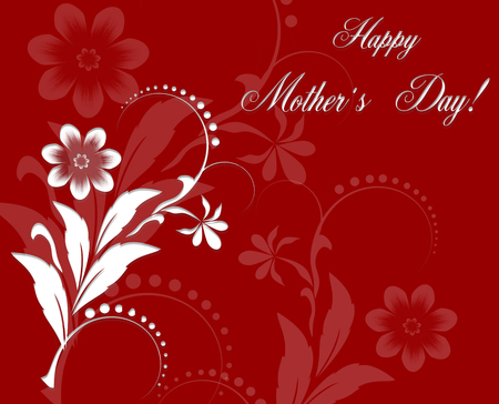 Red Floral Greeting card to  Mothers Day. Holiday background with white paper cuted Flowers. Trendy Design Template. Raster Illustration Stock Photo