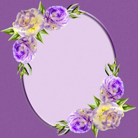 Vintage oval frame decorated with purple eustoma flowers, buds and leaves. In center is space for text or photography. Template design of greeting card, invitation, page or cover of the photoalbum Stock Photo