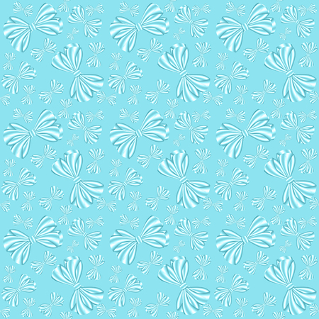 Seamless pattern with bows from ribbons on a blue background, can be used as a print for textiles, childrens and womens clothes and bed-clothes, wrapping paper