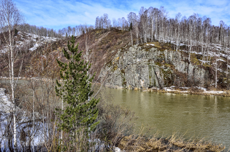 Early spring landscape on the mountain river with rocky banks with melting snow, birch forest on the peak of cliff - beauty of spring nature at sunny day Stock Photo