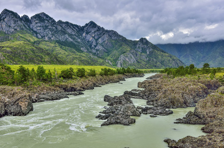 Summer landscape of fast mountain river Katun with Teldykpen rapids near village Oroktoy, Altai mountains, Russia. This is the narrowest and deepest place of mountain river Stockfoto