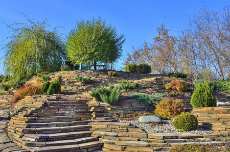 Colorful dwarf coniferous trees, bushes and flowers among stones in autumn rockery garden. Beautiful landscape design on slope of hill at sunny day Stock Photo