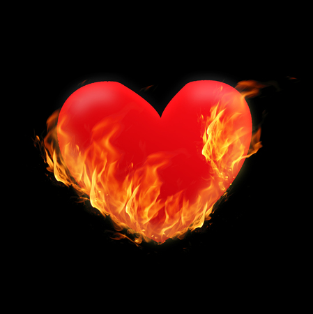 Burning Heart - illustration on black background with tongues of flame. Concept for design to Valentines day, or cardiological illness, heart attack, infarct or ischemia