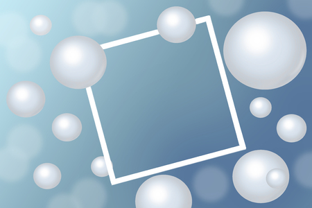 White Pearls around rectangular white frame on blue background. Abstract trendy concept - raster illustration with space for text Standard-Bild