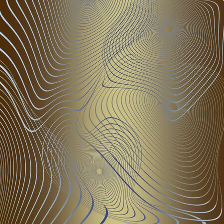 Contour Concentric distorted striped circles from wavy lines on golden gradient background - abstract digital generated background, raster illustration. Digital art