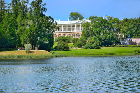 Tsarskoye Selo (Pushkin town), St. Petersburg, Russia - June 19, 2019: Big Pond of Catherine Park. View of Cameron Gallery on the bank - beautiful summer landscape