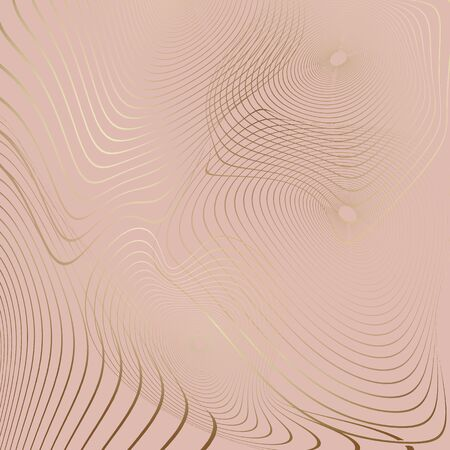 Concentric distorted striped circles from golden colored wavy lines on creamy background - abstract digital generated background, raster illustration. Digital art