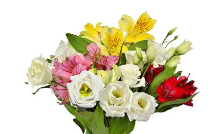 Bouquet of beautiful multicolored Alstroemeria flowers and white Eustoma (Lisianthus) flowers isolated on white background - delicate detail of spring or summer floral festive or romantic design