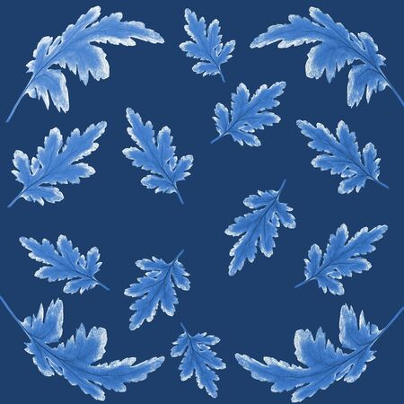 Floral botanical pattern with blue chrysanthemum leaves on dark blue background. Botanical design for textile, napkins, kerchief, shawl in oriental style or scrapbook cover. Trendy blue color