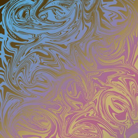 Abstract digital generated background with liquify blue-pink gradient effect on golden surface. Luxury digital art template for wrapping, scrapbook cover or textile. Design for cosmetology, perfume